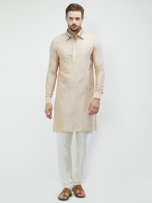 irin Beige Poly Viscose Full Sleeves Solid Collar Pathani Set For Men