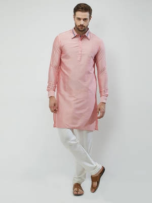 irin Pink Poly Viscose Full Sleeves Solid Collar Pathani Set For Men