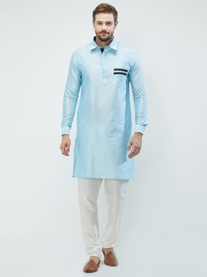 irin Sky Blue Poly Viscose Full Sleeves Solid Collar Pathani Set For Men