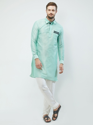irin Pista Green Poly Viscose Full Sleeves Solid Collar Pathani Set For Men