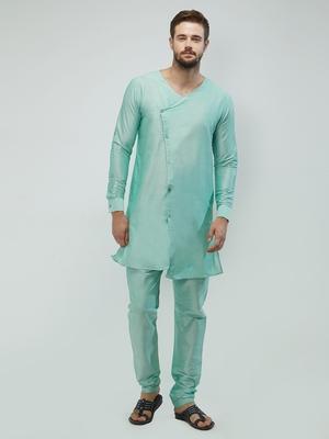 irin Pista Green Poly Viscose Full Sleeves Solid Round Neck Kurta Churidar Set For Men