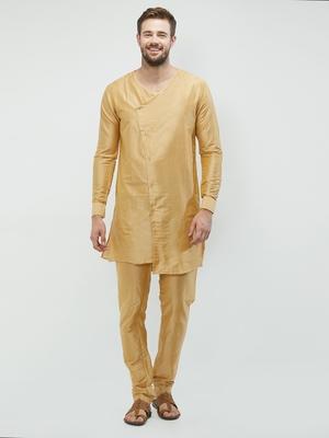 irin Gold Poly Viscose Full Sleeves Solid Round Neck Kurta Churidar Set For Men