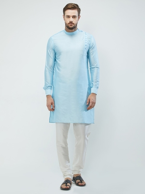 irin Sky Blue Poly Viscose Full Sleeves Solid Mandarin Kurta Churidar Set For Men