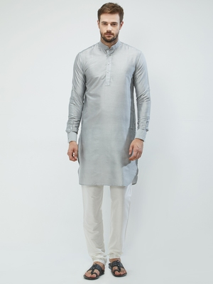 irin Grey Poly Viscose Full Sleeves Solid Mandarin Kurta Churidar Set For Men