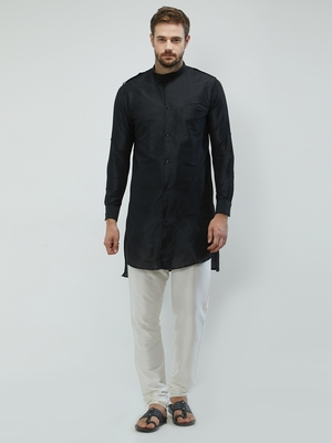 irin Black Poly Viscose Full Sleeves Solid Mandarin Kurta Churidar Set For Men