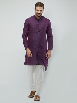 irin Purple Poly Viscose Full Sleeves Solid Mandarin Kurta Churidar Set For Men