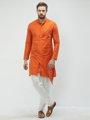 irin Orange Poly Viscose Full Sleeves Solid Mandarin Kurta Churidar Set For Men