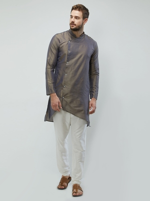 irin Dark Grey Poly Viscose Full Sleeves Solid Mandarin Kurta Churidar Set For Men