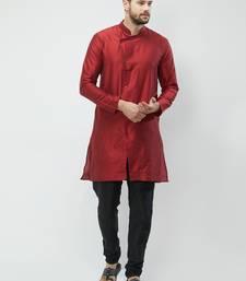 irin Maroon Poly Viscose Full Sleeves Solid Mandarin Kurta Churidar Set For Men