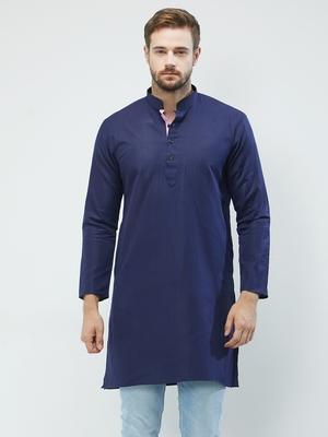 irin Navy Blue Poly Cotton Full Sleeves Solid Mandarin Kurta For Men