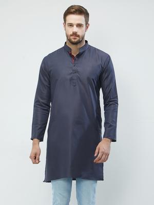 irin Dark Blue Poly Cotton Full Sleeves Solid Mandarin Kurta For Men