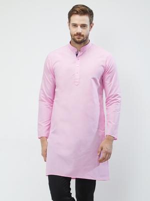 irin Pink Poly Cotton Full Sleeves Solid Mandarin Kurta For Men