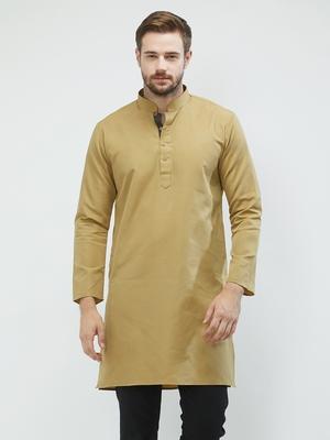 irin Beige Poly Cotton Full Sleeves Solid Mandarin Kurta For Men