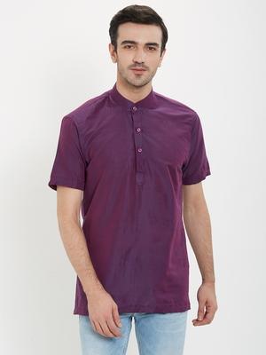 irin Purple Poly Viscose Half Sleeves Solid Mandarin Short Kurta For Men
