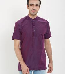 irin Purple Poly Viscose Half Sleeves Solid Mandarin Short Kurta For Men