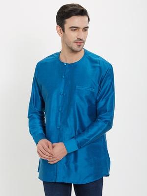 irin Blue Poly Viscose Full Sleeves Solid Round Neck Short Kurta For Men
