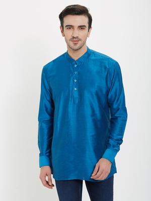 irin Blue Poly Viscose Full Sleeves Solid Mandarin Short Kurta For Men