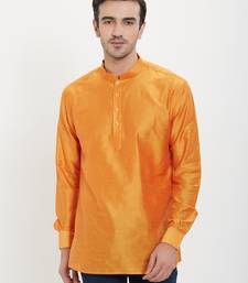 irin Saffron Poly Viscose Full Sleeves Solid Mandarin Short Kurta For Men