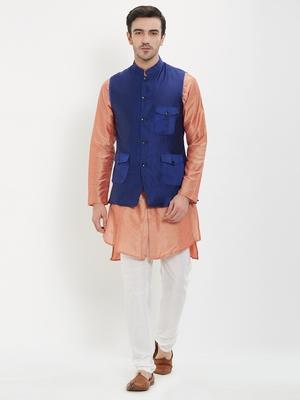 irin Poly Viscose Ethnic Set Of Royal Blue Koti (Waistcoat), Pink and White Kurta Churidar For Men