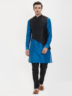 irin Poly Viscose Ethnic Set Of Black Koti (Waistcoat), Blue and Black Kurta Churidar For Men