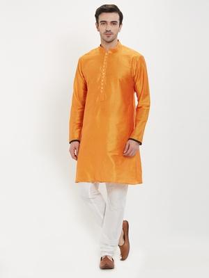 irin Saffron Poly Viscose Full Sleeves Solid Mandarin Kurta Churidar Set For Men