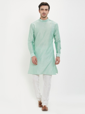 irin Pista Green Poly Viscose Full Sleeves Solid Mandarin Kurta Churidar Set For Men