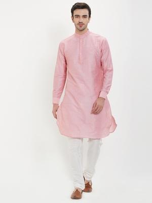 irin Pink Poly Viscose Full Sleeves Solid Mandarin Kurta Churidar Set For Men