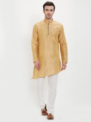 irin Gold Poly Viscose Full Sleeves Solid Mandarin Kurta Churidar Set For Men