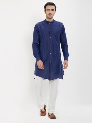 irin Navy Blue Poly Viscose Full Sleeves Solid Mandarin Kurta Churidar Set For Men