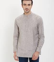 irin Grey Linen Cotton Full Sleeves Solid Mandarin Short Kurta For Men