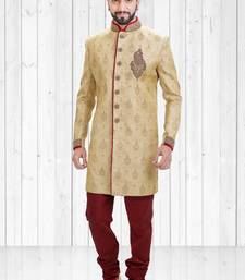 Golden jacquard hand_woven indo-western-dresses