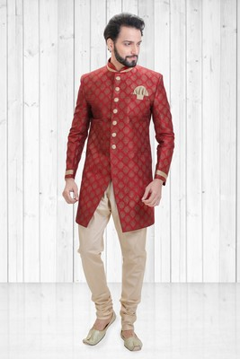 Red dupion printed indo-western-dresses