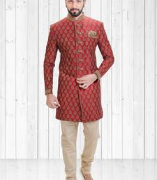 Red dupion hand_woven indo-western-dresses