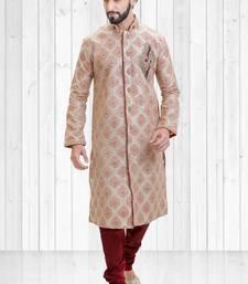 beige, maroon jacquard hand_woven sherwani