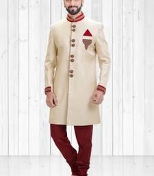 Cream jacquard hand_woven indo-western-dresses