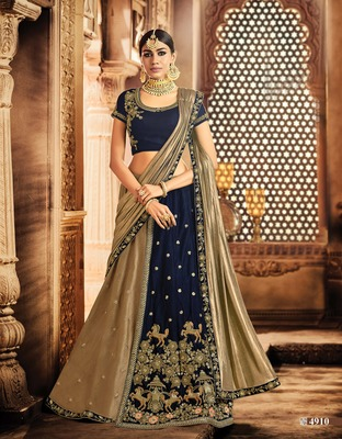 Blue And Gold  Silk Embroidered Lehenga Choli