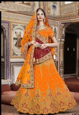 Orange And Red Embroidered Silk Lehenga With Bandhni Dupatta