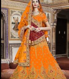 Orange And Red Embroidered Silk Lehenga With Bandhni Dupatta