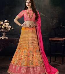 Orange and Pink Embroidered Silk Lehenga Choli