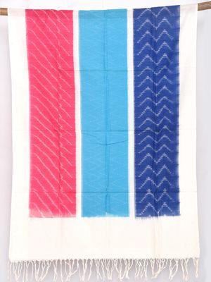 Multicolor Pochampally Ikat Cotton Handloom Dupatta with Rectangles Design