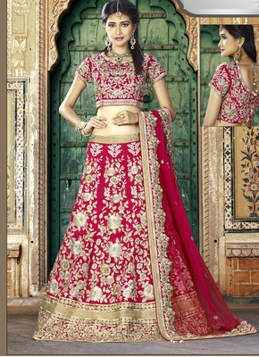 Pink Silk Gota Patti Embroidered Lehenga Choli