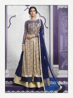 Beige and Blue Embroidered Raw Silk Sharara Suit