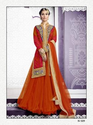 Orange Embroidered Net Indo Western Lehenga