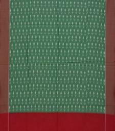 Green and Red Pochampally Ikat Cotton Handloom Dupatta with Arrows Buta