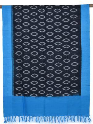 Blue and Black Pochampally Ikat Cotton Handloom Dupatta with Temple Border Design