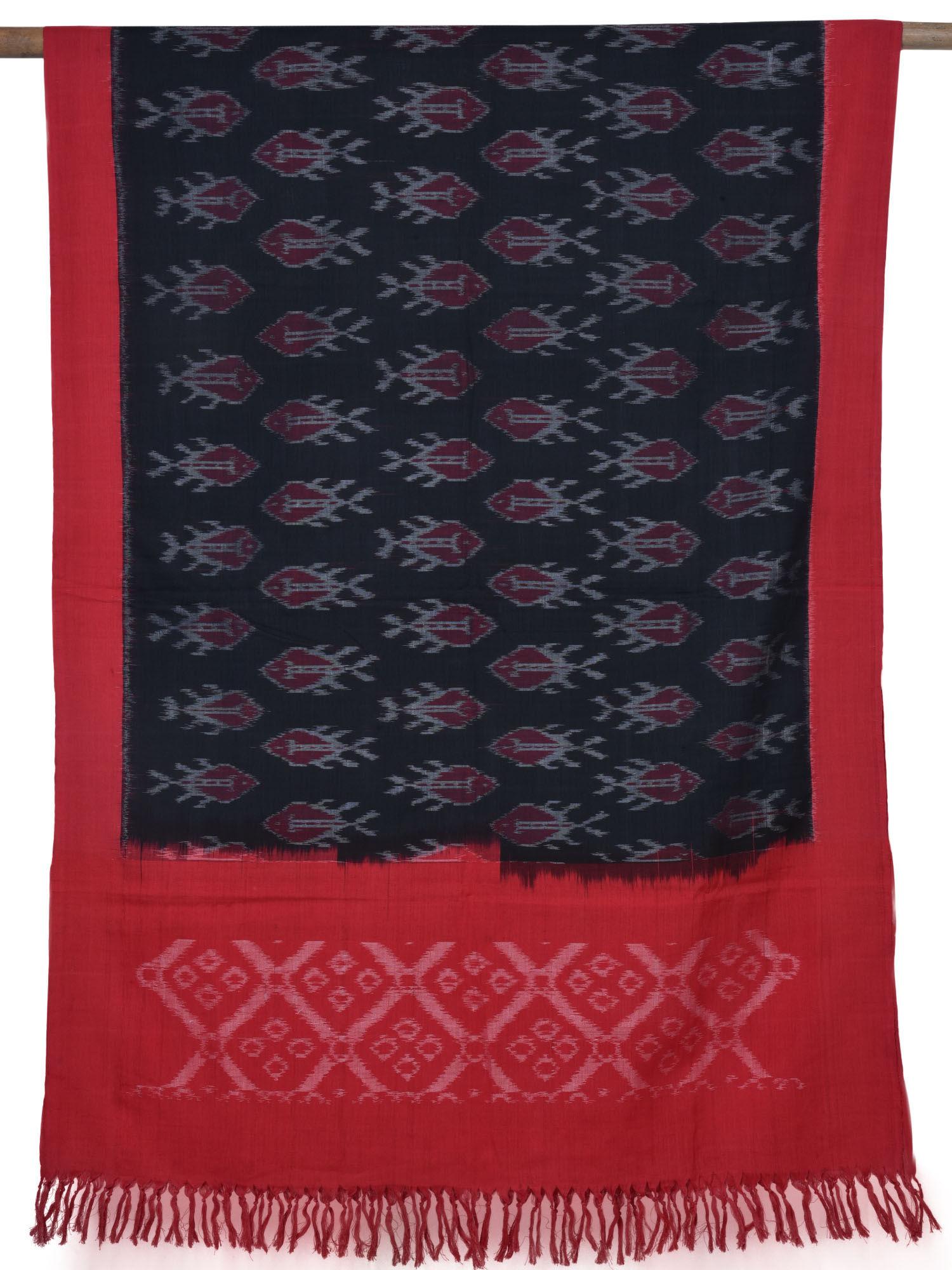 a9ad922804f103 Blue Pochampally Ikat Cotton Handloom Stole - Uppada Sarees - 2783941