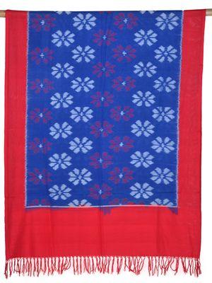 Blue and Red Pochampally Ikat Cotton Handloom Dupatta with Flower Design
