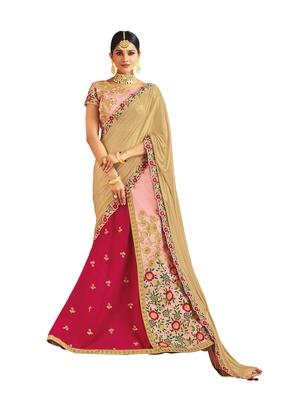 Raw Silk Pink Embroidered Lehenga Choli