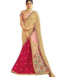 Raw Silk Pink Embroidered Lehenga Choli
