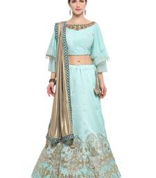 Light Blue Tusser Silk Lehenga